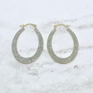 Solid 10k white & yellow gold 2in1 hoop earrings